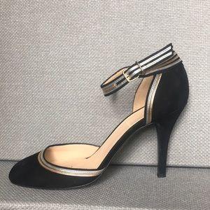 J crew Black Italian suede silver gold heels